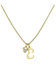 Disney Parks Mickey Mouse Faux Gem Icon Letter Initial E Necklace Gold Color - $28.90