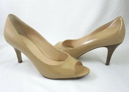 Cole Haan Air Lainey 8.5 B Sandstone Nude Patent Leather Pumps Shoes Open Toes - $49.49