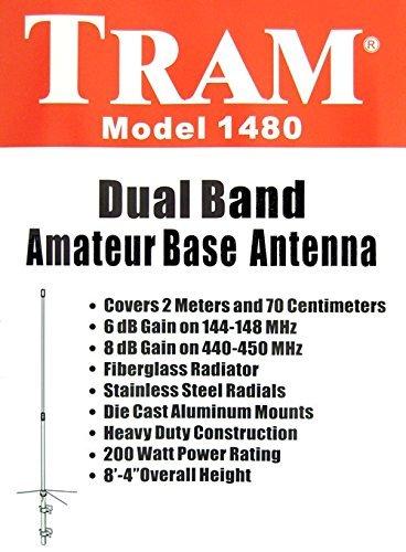 Tram 1480 Amateur Radio 144-148 MHz & 430-450 MHz Dual-Band Base Antenna VHF