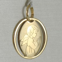 Medal Pendant Yellow Gold Oval 750 18k, Guardian Angel in Prayer, Satin image 1