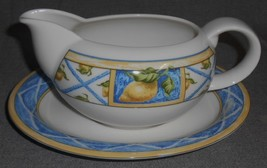1997 Royal Doulton LEMON TRELLIS PATTERN Gravy Boat w/Underplate MADE IN... - $29.69