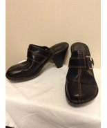 """Born Black Leather Mules 4"""" High Heel Buckle Clogs W31056 Womens Size US 9 - $17.95"""