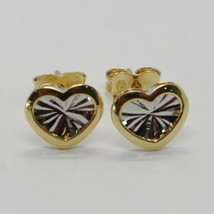 18K WHITE YELLOW GOLD HEART EARRINGS FINELY WORKED, DOUBLE RAYS STAR, ITALY MADE image 1