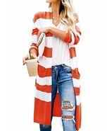 Women's Long Open Front Stripe Cardigan Slim Fit Boho Fall Knit SweaterR... - $39.76
