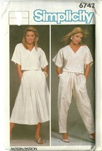 Simplicity Sewing Pattern 6742 Misses Womens Top Skirt Pants Size 1- uncut - $5.50