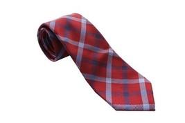 Countess Mara Men's 100% Silk Neck Tie, Bellagio Plaid, Red - $13.85