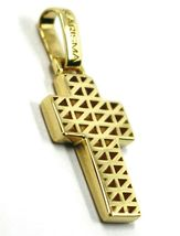 """18K YELLOW GOLD SQUARED CROSS PENDANT, TWO FACES, SMOOTH, STRIPED, 0.9"""", 2.2 CM image 3"""