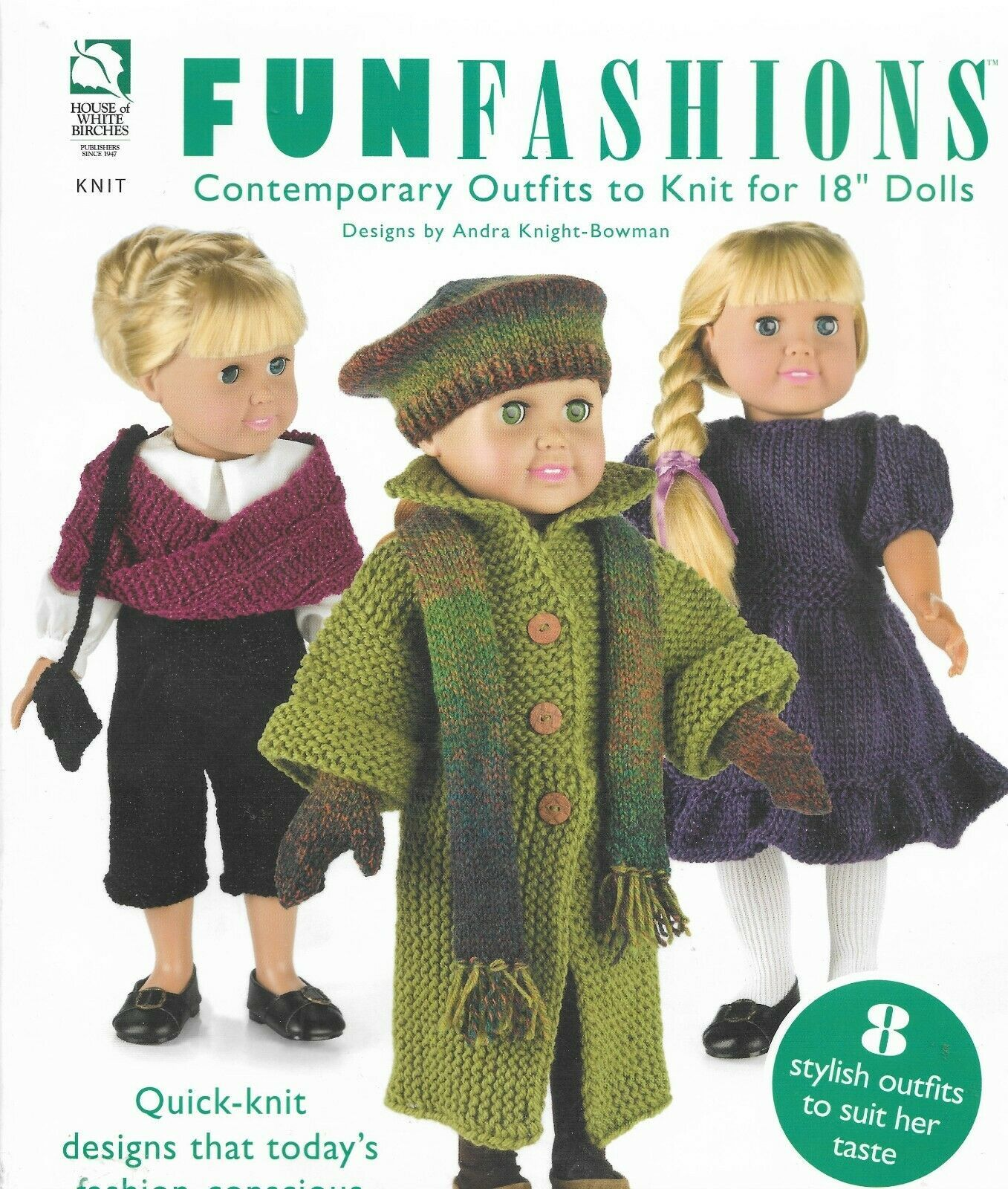 """Knitting Patterns-FUNFASHION Outfits for 18"""" Doll-8 Outfits - $9.46"""