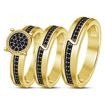 14k Yellow Gold Finish 925 Sterling Silver Black Diamond His & Her Trio ... - $154.99