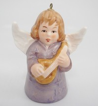 """Goebel Angel Bell Ornament 1977 Purple with Guitar Instrument 3"""" Christm... - $16.82"""