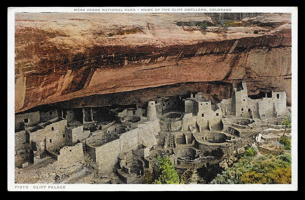 Cliff Palace Postcard Colorado Mesa Verde National Park Cliff Dewellers Home CO