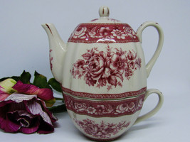 Red Tea For One Set Transferware Victorian Teaset Country Floral Rose Po... - $29.99