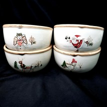 American Atelier CHRISTMAS TWIGS 4 Berry Cereal Dessert Bowls - $33.88