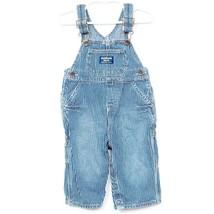 OshKosh BGosh Conductor Overalls 12 Mos Pants Blue Striped 100% Cotton Adjusts - $23.62