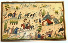 Antique Persian Handmade Miniature Painting Islamic Artwork Rural Scene image 2