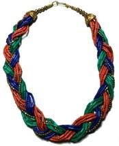 Tibetan Banjara Necklace Beaded Chunky Ethnic Boho Handmade Tribal India... - $17.41
