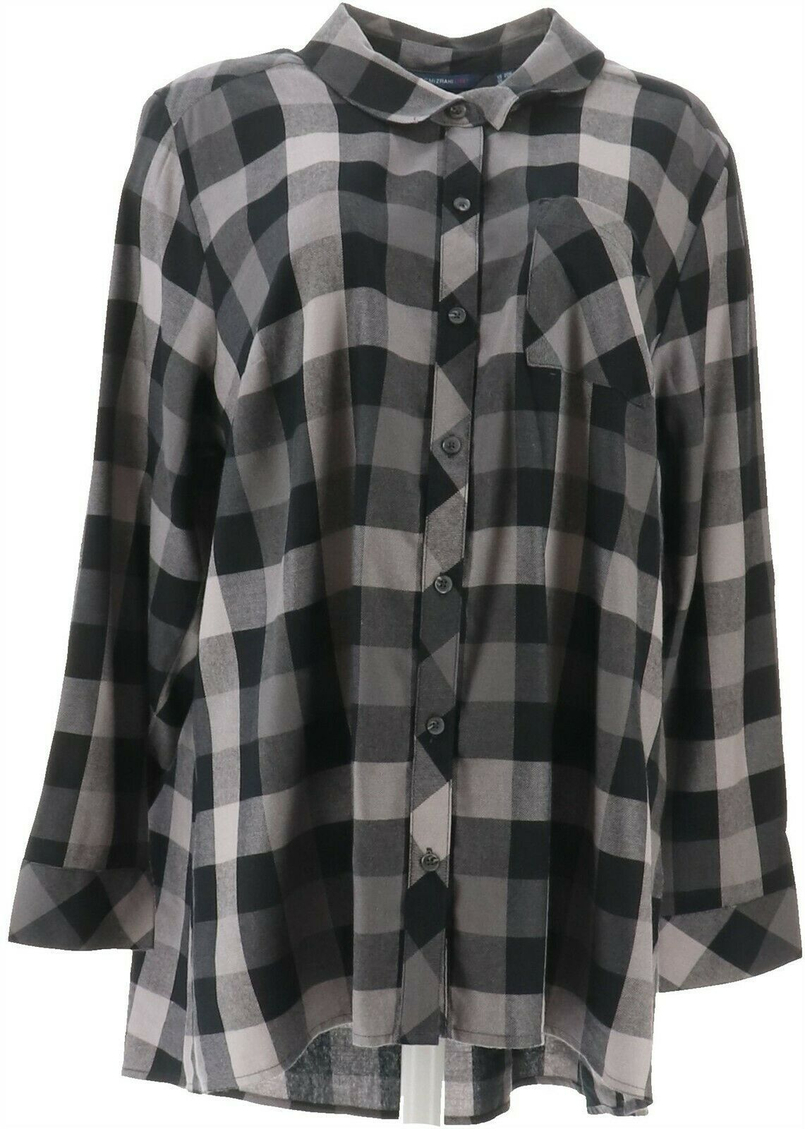 Primary image for Isaac Mizrahi TRUE DENIM Plaid Button Up Shirt Black 12 NEW A367580