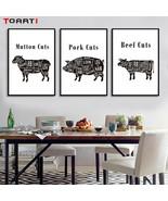Meat Cuts Diagram Poster Prints Kitchen Wall Art Butcher Diagram Chart P... - $6.95+