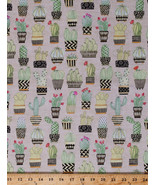 Cactus Cacti Plants Potted Flowers Floral Tan Cotton Fabric Print BTY D6... - $11.95