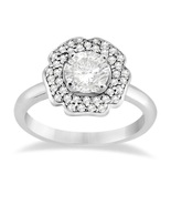 Flower Shape Wedding Ring Round Cut CZ 14k White Gold Plated 925 Sterlin... - $60.99