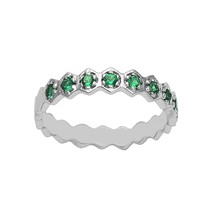 Green Cubic Zirconia 925 Sterling Silver Half Eternity Stacking Band Wom... - $1.00