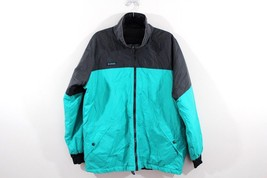 Vtg 90s COLUMBIA Mens Large Reversible Spell Out Color Block Jacket Teal Black - $34.70