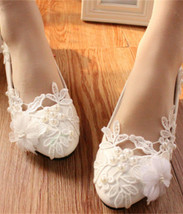 Ladies Ivory White Women Lace Wedding Shoes Bridesmaid Flat Shoes US 7,8,9,10,11 - $38.00