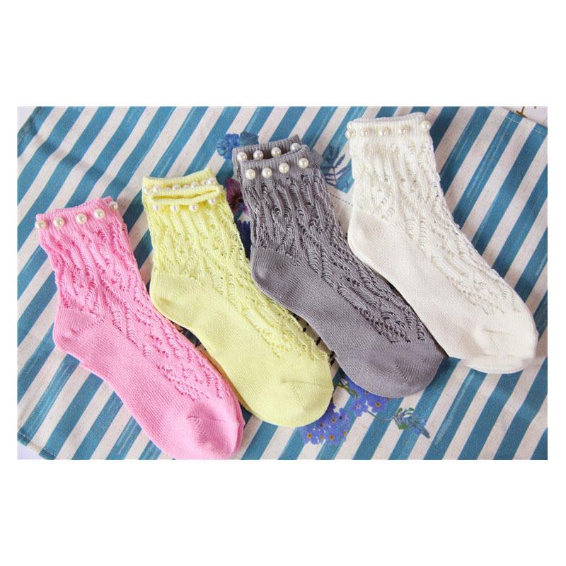 Summer Women Japan Cotton Novelty Pearl Socks Hollow Hook Flowers Princess Socks