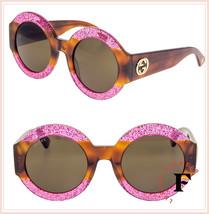 8cfd6fe5f9a Gucci 0084 GG0084S Pink Havana Brown Glitter Round Urban Web Diva Sunglasses  -  306.90