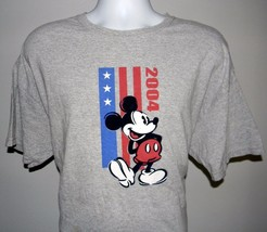 Mens 2004 Disney Mickey Mouse Stars & Stripes t shirt XL Felt body gray - $21.73