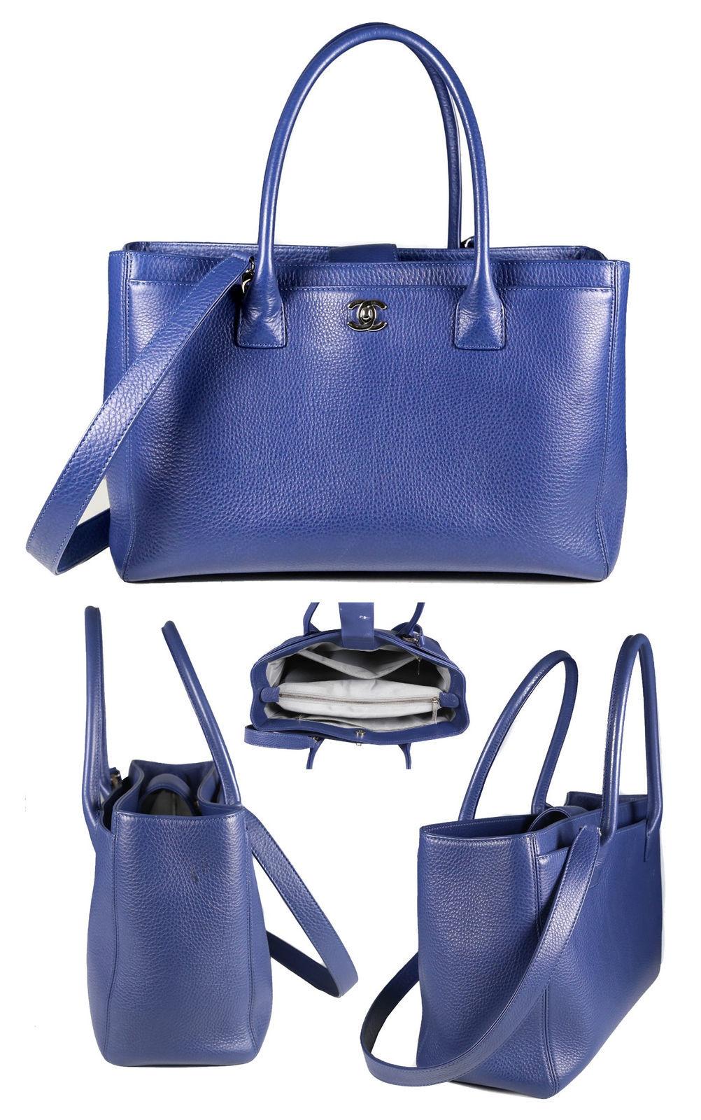 97cef5a4ef57 Authentic CHANEL Executive Cerf Blue Calfskin Caviar Shopper Tote Bag -  $2,195.00