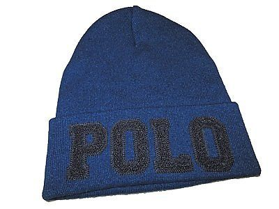 77d16e17015 1. 1. Polo Ralph Lauren Mens Logo Embroidery Fold Over Beanie Knit Cap One  Size Indigo. Free Shipping
