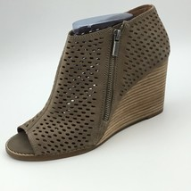 Lucky Brand Womens Jazspur Wedge Boots Tan Brown Perforated Booties 9 M - $36.00