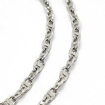 18K WHITE GOLD CHAIN FLAT NAVY MARINER OVAL BRIGHT LINK 2.5 MM, 20 INCHES  image 2