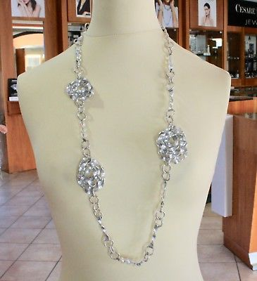 ALUMINUM NECKLACE WITH ROSES AND CRYSTALS HAND-MADE IN ITALY 90 CM 36 IN LENGHT