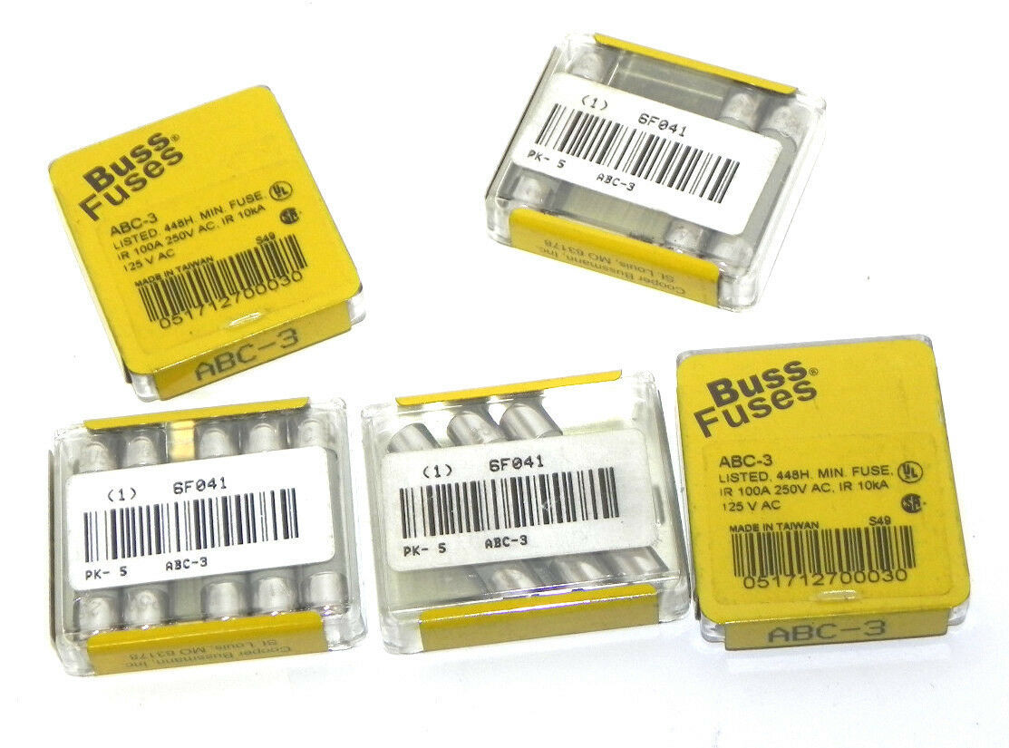 LOT 19 NEW BUSSMANN ABC-3  BUSS SMALL DIMENSION FUSES FAST ACTING