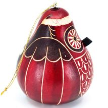 Handcrafted Carved Gourd Art Red Christmas Owl Holiday Ornament Made in Peru image 4