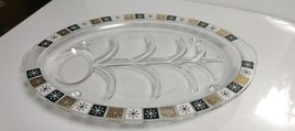 """MCM Inland Glass 14.5"""" Well & Tree Atomic Starburst Meat Tray Platter Ea... - $13.86"""
