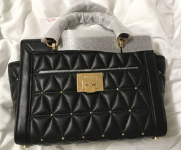 NWT Michael Kors Small Vivianne Studded Lambskin Leather Messenger Black... - $2.289,87 MXN