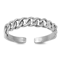 Adjustable Curb Chain Toe Ring 925 Sterling Silver White Gold Finish For... - $9.99