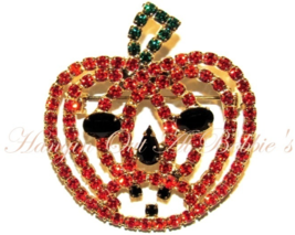 Pumpkin Jack O Lantern Pin Brooch Orange Black Crystal Autumn Fall Hallo... - $24.99
