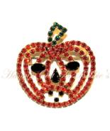 Pumpkin Jack O Lantern Pin Brooch Orange Black Crystal Autumn Fall Hallo... - £18.17 GBP