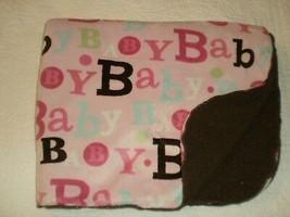 Circo Target Baby Blanket PINK & BROWN SHERPA Words Printed on Front  - $247,13 MXN