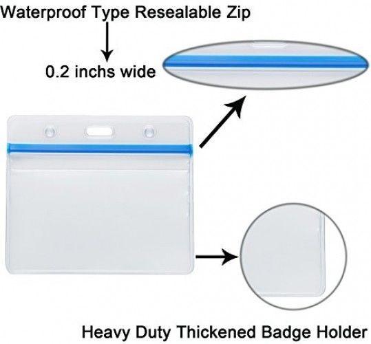 AMMU Horizontal Waterproof ID Badge Holder Heavy Duty PVC Card Name Tag Badge 5