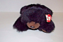 Ty CLASSIC 1996 BABY PAWS Plush Black Bear Lying Down Brown snout paws - $9.89