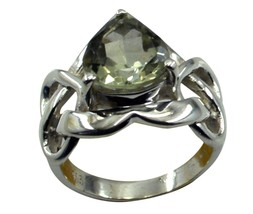 Real Green Amethyst Silver Ring Gift For Girls Size 5,6,7,8,9,10,11,12 U... - $32.97
