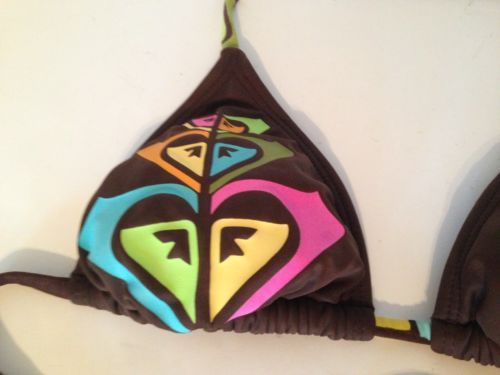 Roxy Signature Brown String Bikini Top Removable Padding Colorful Ties Jr S