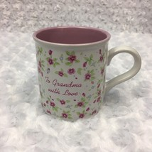 To Grandma with Love Purple Floral Coffee Mug Enesco Designed Giftware Brand Vtg - $11.29