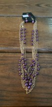 Paparazzi Short Necklace & Earring Set (New) #600 Gold Chain & Purple Beads - $7.61