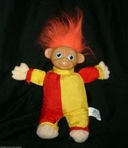 "10"" Vintage 1991 Ace Novelty Clown Troll Stuffed Animal Plush Toy Doll Nylon Red - $17.60"